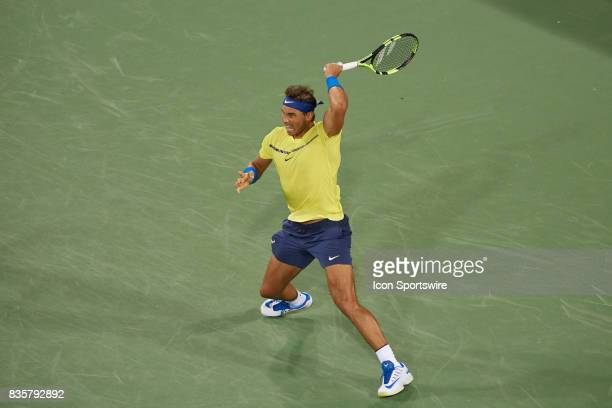 Rafael Nadal of Spain hits a forehand during his quarter final match against Nick Kyrgios of Australia in the Western Southern Open at the Lindner...