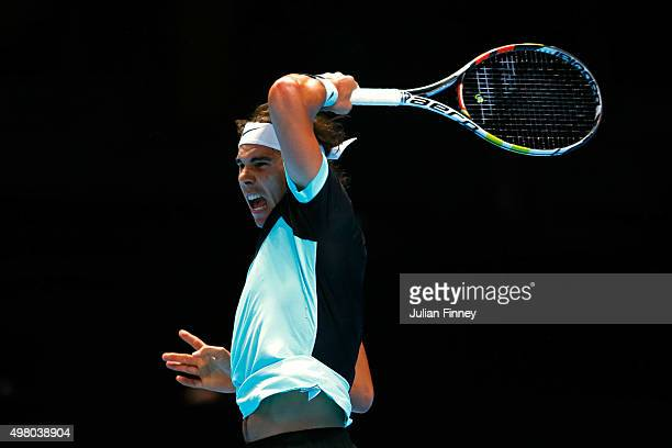 Rafael Nadal of Spain hits a forehand during the men's singles match against David Ferrer of Spain on day six of the Barclays ATP World Tour Finals...