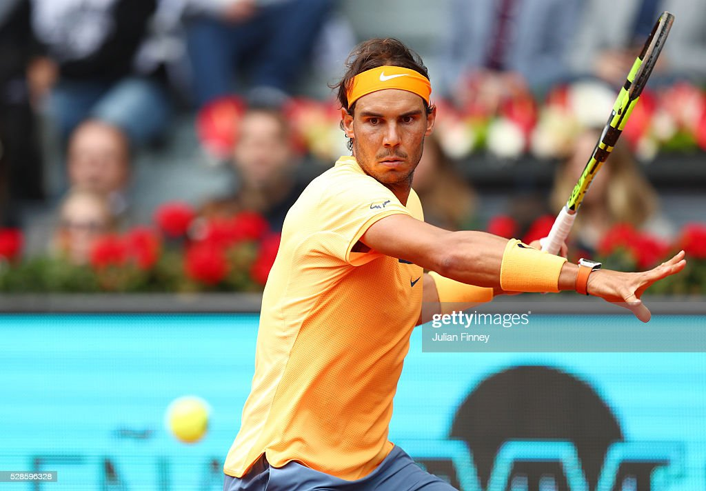 Rafael Nadal of Spain hits a forehand during the Men's Singles Quarter Final match against Joao Sousa of Portugal during day seven of the Mutua Madrid Open at La Caja Magica on May 6, 2016 in Madrid, Spain.