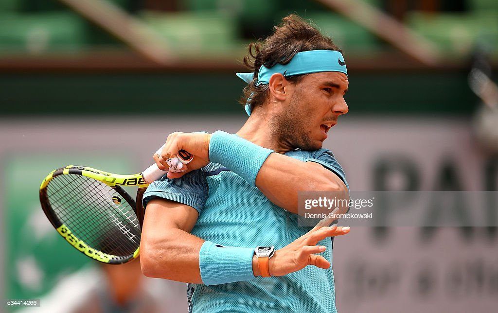<a gi-track='captionPersonalityLinkClicked' href=/galleries/search?phrase=Rafael+Nadal&family=editorial&specificpeople=194996 ng-click='$event.stopPropagation()'>Rafael Nadal</a> of Spain hits a forehand during the Men's Singles second round match against Facundo Bagnis of Argentina on day five of the 2016 French Open at Roland Garros on May 26, 2016 in Paris, France.