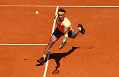 Rafael Nadal of Spain hits a forehand return during his second round match against Aljaz Bedene of Great Britain on day four of the Monte Carlo Rolex...