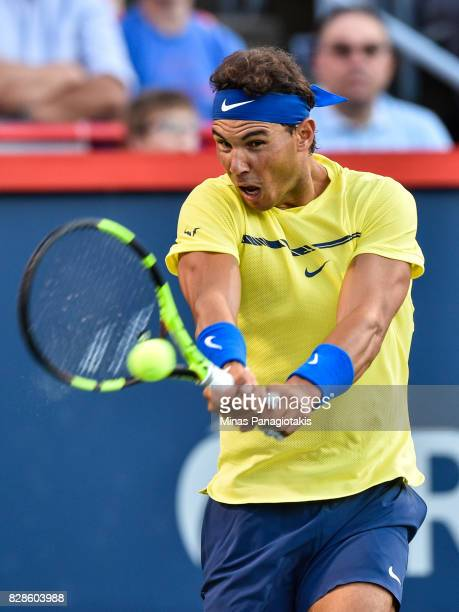 Rafael Nadal of Spain hits a return against Borna Coric of Croatia during day six of the Rogers Cup presented by National Bank at Uniprix Stadium on...