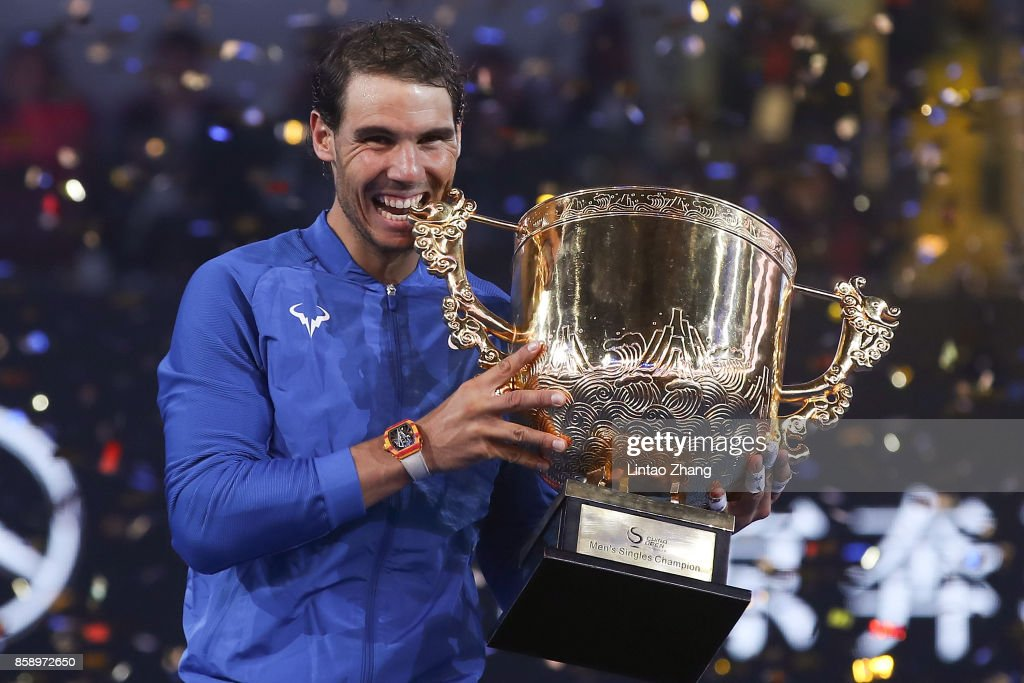 Rafael Nadal of Spain hold the winners trophy after winning the Men's Singles final against Nick Kyrgios of Australia on day nine of the 2017 China Open at the China National Tennis Centre on October 8, 2017 in Beijing, China.