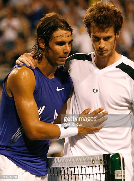 Rafael Nadal of Spain hugs Andy Murray of Great Britain after defeating him during the Rogers Cup at the Rexall Centre at York University on July 26...