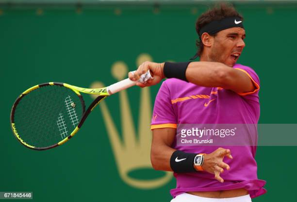 Rafael Nadal of Spain in action against Albert RamosVinolas of Spain in the final on day eight of the Monte Carlo Rolex Masters at MonteCarlo...