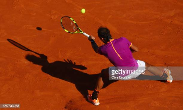 Rafael Nadal of Spain in action against Alexander Zverev of Germany in his third round match on day five of the Monte Carlo Rolex Masters at...