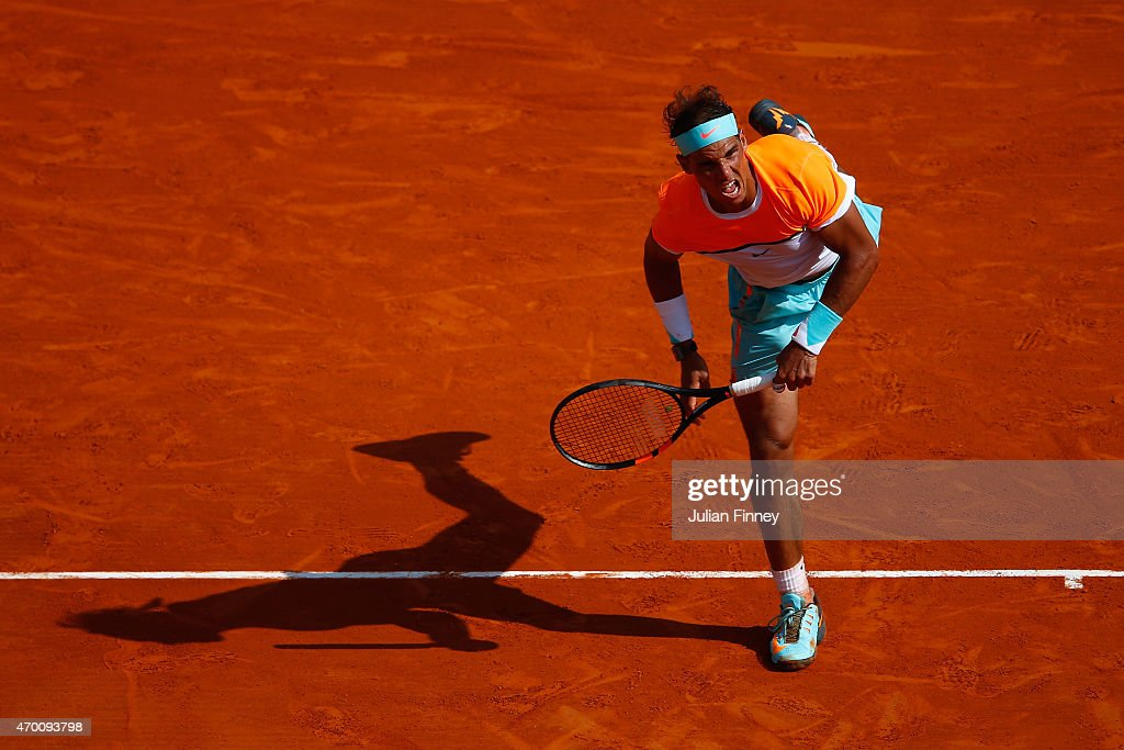 Rafael Nadal of Spain in action against David Ferrer of Spain during day six of the Monte Carlo Rolex Masters tennis at the Monte-Carlo Sporting Club on April 17, 2015 in Monte-Carlo, Monaco.