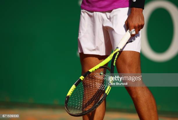 Rafael Nadal of Spain in action against David Goffin of Belgium in their semi final round match on day seven of the Monte Carlo Rolex Masters at...
