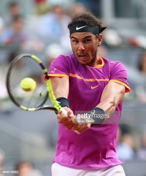 Rafael Nadal of Spain in action against Dominic Thiem of Austria in the final during day nine of the Mutua Madrid Open tennis at La Caja Magica on...