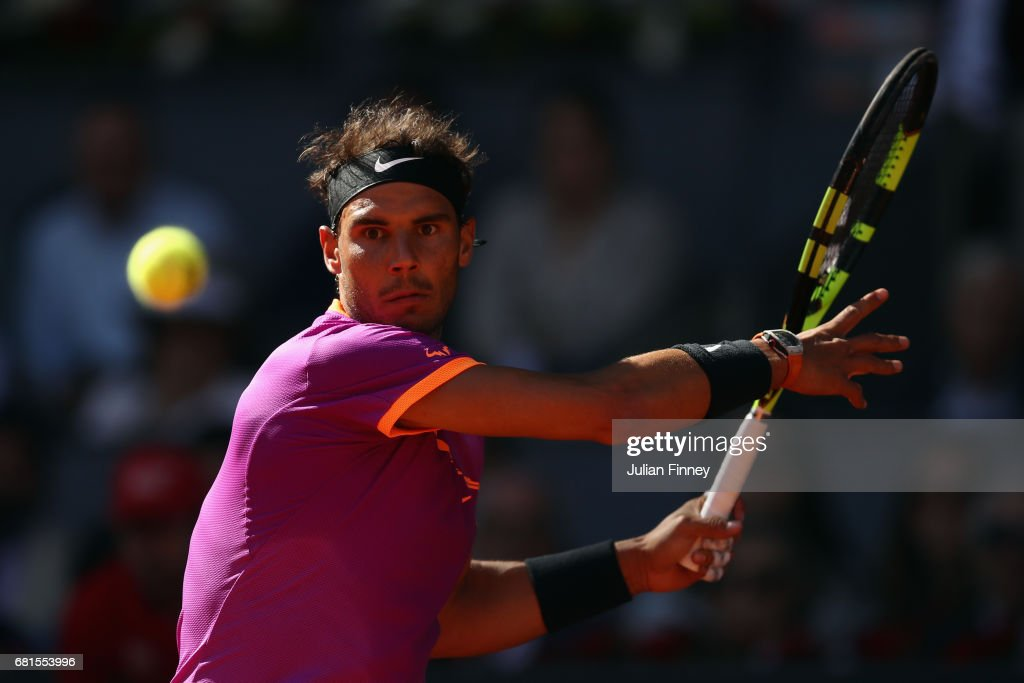 Rafael Nadal of Spain in action against Fabio Fognini of Italy during day five of the Mutua Madrid Open tennis at La Caja Magica on May 10, 2017 in Madrid, Spain.