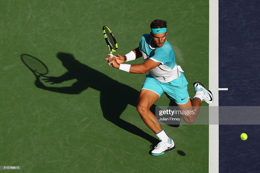 Rafael Nadal of Spain in action against Fernando Verdasco of Spain during day nine of the BNP Paribas Open at Indian Wells Tennis Garden on March 15, 2016 in Indian Wells, California.