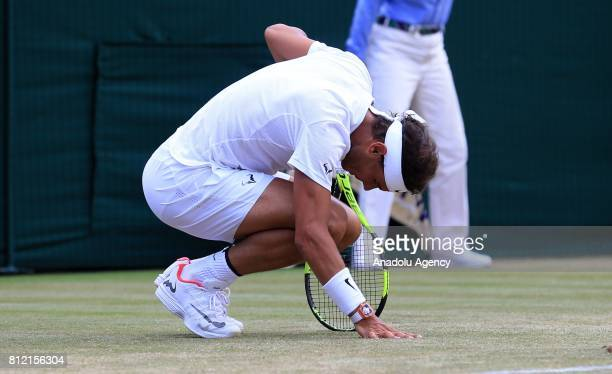 Rafael Nadal of Spain in action against Gilles Muller of Luxembourg on day seven of the 2017 Wimbledon Championships at the All England Lawn and...
