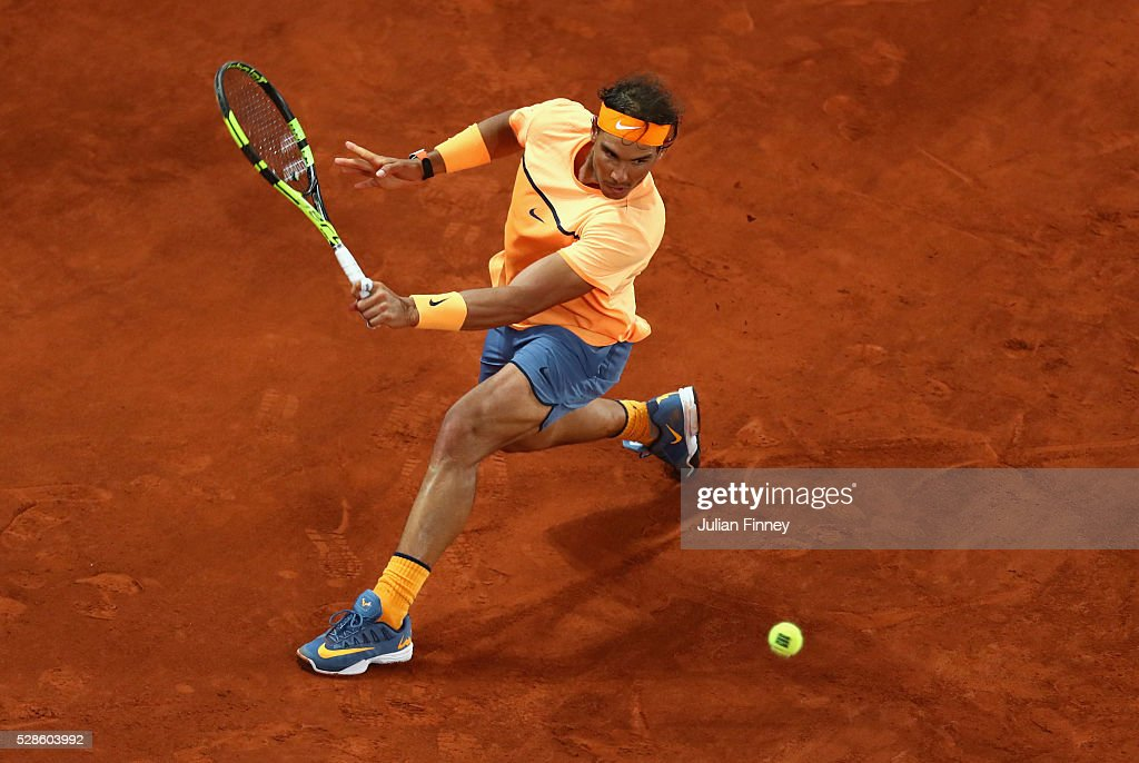 Rafael Nadal of Spain in action against Joao Sousa of Portugal during day seven of the Mutua Madrid Open tennis tournament at the Caja Magica on May 06, 2016 in Madrid, Spain.