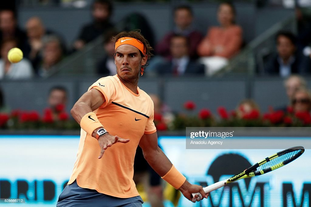 Rafael Nadal of Spain in action against Joao Sousa of Portugal in their quarter final round match during the Mutua Madrid Open tennis tournament at the Caja Magica in Madrid, Spain on May 06, 2016.