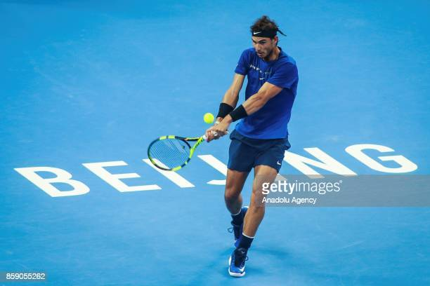 Rafael Nadal of Spain in action against Nick Kyrgios of Australia during the men's singles final match on day nine of the 2017 China Open at the...