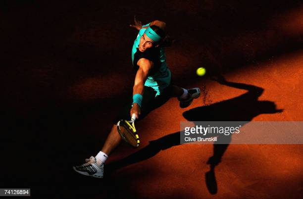 Rafael Nadal of Spain in action against Novak Djokovic of Serbia in their quarter final match during the ATP Masters Series at the Foro Italico May...