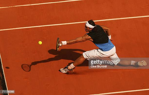 Rafael Nadal of Spain in action against Roger Federer of Switzerland during the Men's Singles Final on day fifteen of the French Open at Roland...