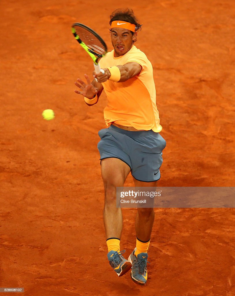 Rafael Nadal of Spain in action against Sam Querrey of the United States in their third round match during day six of the Mutua Madrid Open tennis tournament at the Caja Magica on May 05, 2016 in Madrid,Spain
