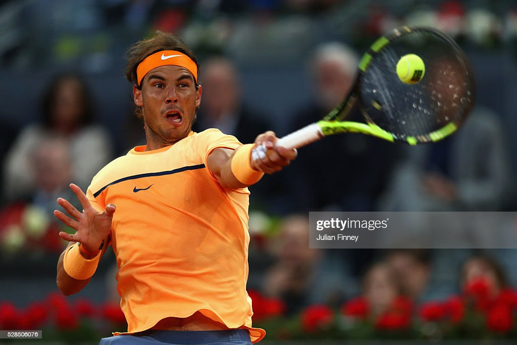 Rafael Nadal of Spain in action against Sam Querrey of USA during day six of the Mutua Madrid Open tennis tournament at the Caja Magica on May 05, 2016 in Madrid, Spain.