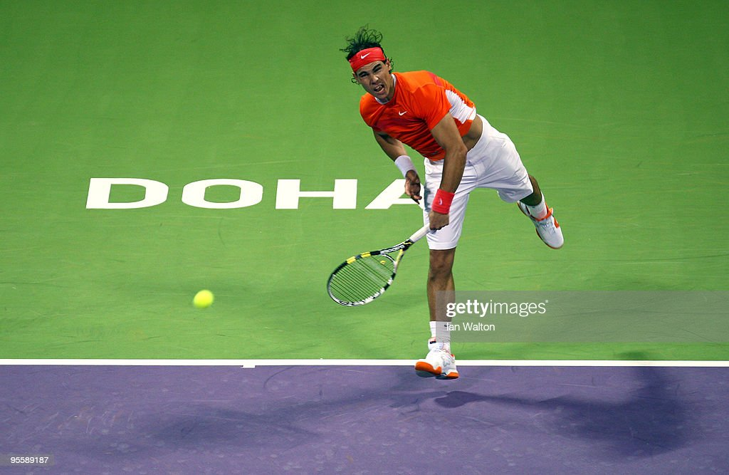 Rafael Nadal of Spain in action against Simone Bolelli of Italy during the first round of the ATP Qatar ExxonMobil Open at the Khalifa International...