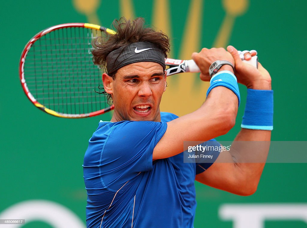 <a gi-track='captionPersonalityLinkClicked' href=/galleries/search?phrase=Rafael+Nadal&family=editorial&specificpeople=194996 ng-click='$event.stopPropagation()'>Rafael Nadal</a> of Spain in action against Teymuraz Gabashvili of Russia during day four of the ATP Monte Carlo Rolex Masters Tennis at Monte-Carlo Sporting Club on April 16, 2014 in Monte-Carlo, Monaco.