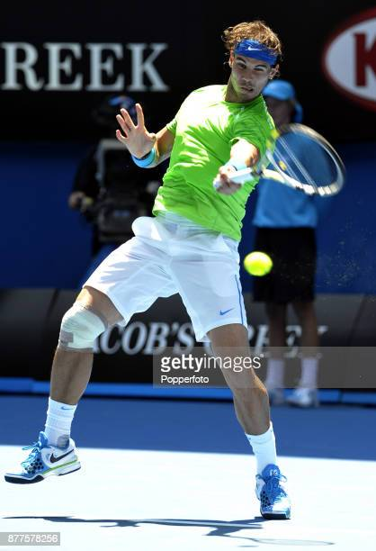 Rafael Nadal of Spain in action against Tommy Haas of Germany during a Men's Singles 2nd round match on day three of the 2012 Australian Open at...