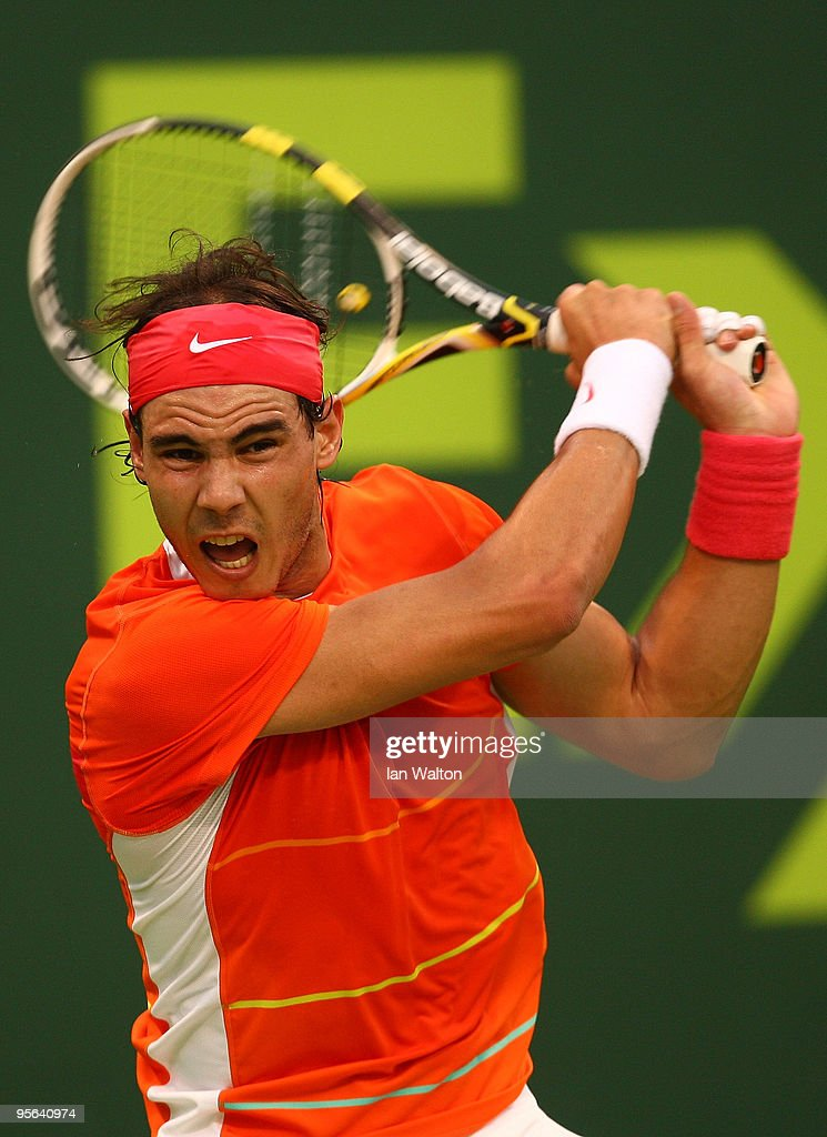 Rafael Nadal of Spain in action against Viktor Troicki of Serbia during the Semi final match of the ATP Qatar ExxonMobil Open at the Khalifa...