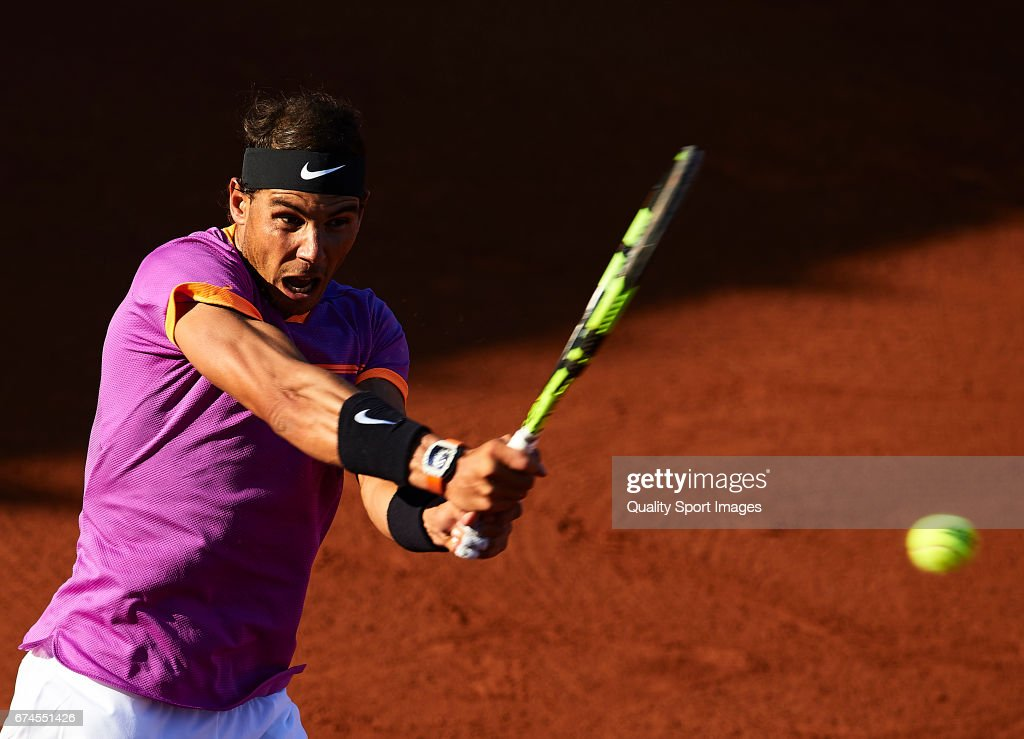 Rafael Nadal of Spain in action at his match against Hyeon Chung of South Korea during the Day 5 of the Barcelona Open Banc Sabadell at the Real Club de Tenis Barcelona on April 28, 2017 in Barcelona, Spain.
