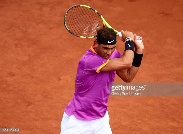 Rafael Nadal of Spain in action at his match against Kevin Anderson of South Africa during the Day 4 of the Barcelona Open Banc Sabadell at the Real...