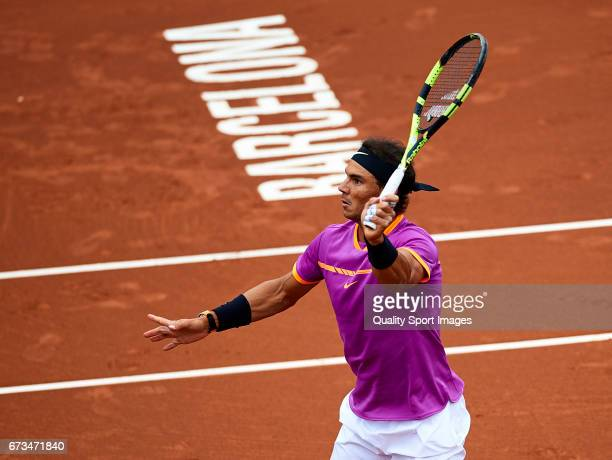 Rafael Nadal of Spain in action at his match against Rogerio Dutra Silva of Brasil during the Day 3 of the Barcelona Open Banc Sabadell at the Real...