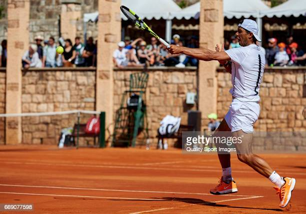 Rafael Nadal of Spain in action during a practice session on day one of the ATP Monte Carlo Rolex Masters Tennis at MonteCarlo Sporting Club on April...