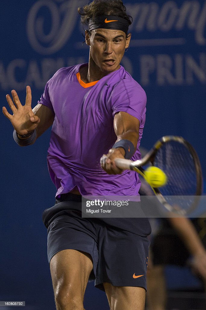 Rafael Nadal of Spain in action during a tennis match against Diego Schartzman of Argentina as part of the Mexican Tennis Open Acapulco 2013 at Pacific resort on February 26, 2013 in Acapulco, Mexico.