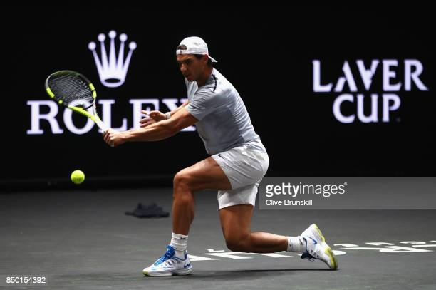 Rafael Nadal of Spain in action during a training session ahead of the Laver Cup on September 20 2017 in Prague Czech Republic The Laver Cup consists...