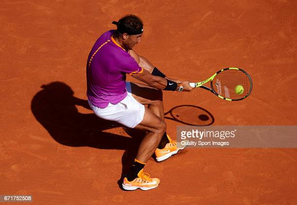 Rafael Nadal of Spain in action during his match against David Goffin of Belgium during day seven of the ATP Monte Carlo Rolex Masters Tennis at...