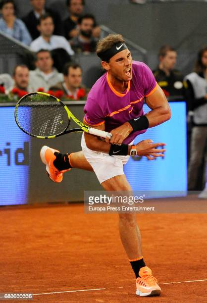 Rafael Nadal of Spain in action during his match against David Goffin of Belguim during day eight of the Mutua Madrid Open tennis at La Caja Magica...