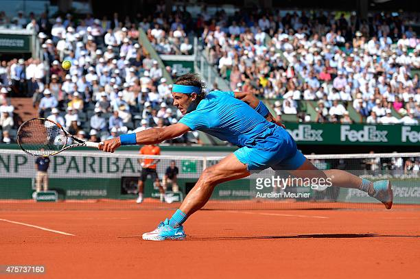 Rafael Nadal of Spain in action during his Men's quarter final match against Novak Djokovic of Serbia on day eleven of the 2015 French Open at Roland...