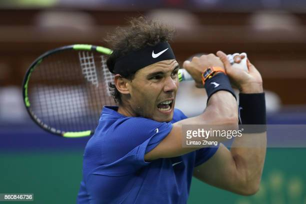 Rafael Nadal of Spain in action during Men's singles quarter final mach against Grigor Dimitrov of Bulgaria on day six of 2017 ATP Shanghai Rolex...