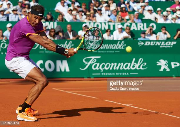 Rafael Nadal of Spain in action during the men's singles semifinal match against David Goffin of Belgium during day seven of the ATP Monte Carlo...