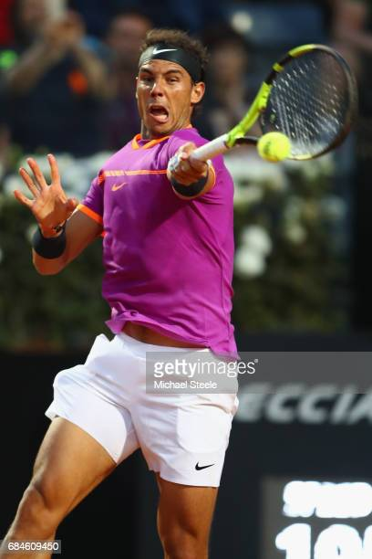 Rafael Nadal of Spain in action during the men's third round match against Jack Sock of USA on Day Five of the Internazionali BNL d'Italia 2017 at...