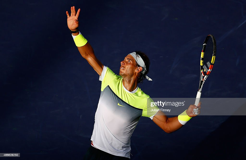 Rafael Nadal of Spain in action in his match against Donald Young of USA during day nine of the BNP Paribas Open tennis at the Indian Wells Tennis Garden on March 17, 2015 in Indian Wells, California.