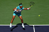Rafael Nadal of Spain in action in his match against Kei Nishikori of Japan during day twelve of the BNP Paribas Open at Indian Wells Tennis Garden...