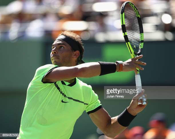 Rafael Nadal of Spain in action in his match against Nicolas Mahut of France at Crandon Park Tennis Center on March 28 2017 in Key Biscayne Florida