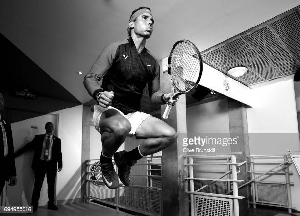 Rafael Nadal of Spain is pictured inside the tunnel area prior to his mens singles semifinal match against Dominic Thiem of Austria on day thirteen...