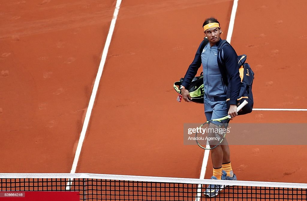 Rafael Nadal of Spain leaves after his match against Joao Sousa of Portugal during the Mutua Madrid Open tennis tournament at the Caja Magica in Madrid, Spain on May 06, 2016.