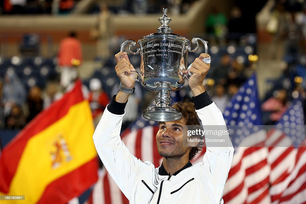 Rafael Nadal of Spain lifts the US Open Championship trophy as he celebrates winning the men's singles final match against Novak Djokovic of Serbia on Day Fifteen of the 2013 US Open at the USTA Billie Jean King National Tennis Center on September 9, 2013 in the Flushing neighborhood of the Queens borough of New York City.