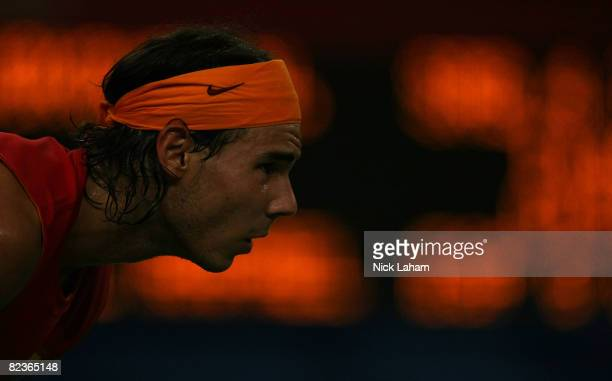 Rafael Nadal of Spain look on against Novak Djokovic of Serbia during their tennis match at the Olympic Green Tennis Center on Day 7 of the Beijing...