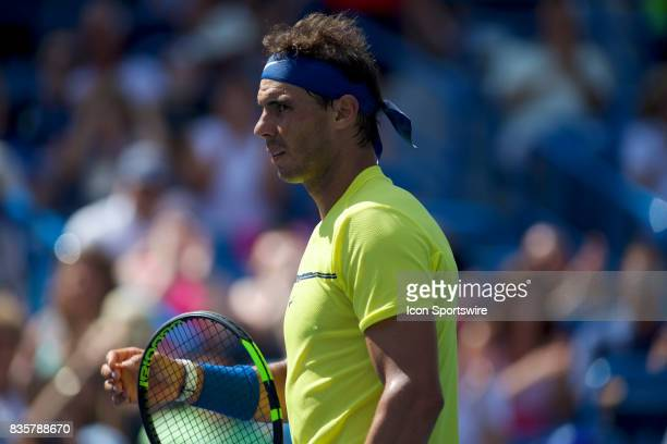 Rafael Nadal of Spain looks at his team after winning a match in the Western Southern Open at the Lindner Family Tennis Center in Cincinnati OH