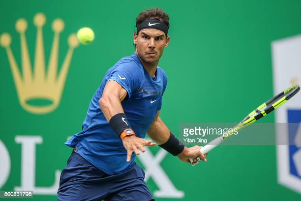 Rafael Nadal of Spain looks during the Men's singles quarterfinal match against Grigor Dimitrov of Bulgaria on day 6 of 2017 ATP Shanghai Rolex...