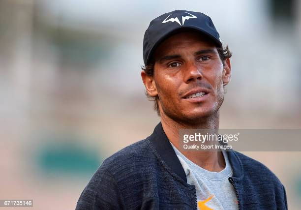 Rafael Nadal of Spain looks on after the match against David Goffin of Belgium during day seven of the ATP Monte Carlo Rolex Masters Tennis at...