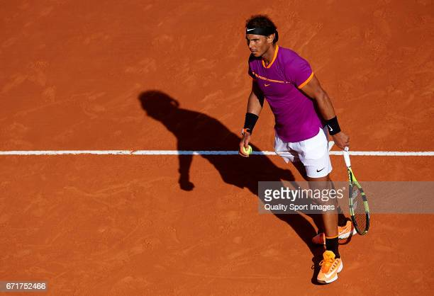 Rafael Nadal of Spain looks on against David Goffin of Belgium during day seven of the ATP Monte Carlo Rolex Masters Tennis at MonteCarlo Sporting...
